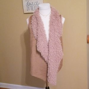 Tan faux fur and suede  vest Size L
